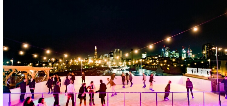 Rooftop skating and fondue for Skylight's Winter Season At Tobacco Dock