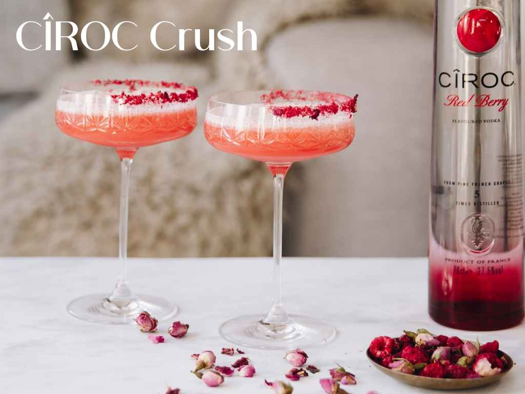 Make this very pink holiday cocktail at home!