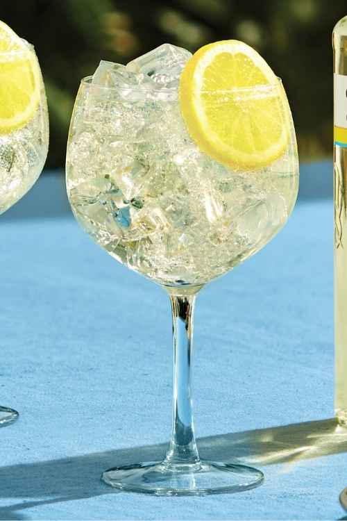 A Balloon glass filled with Gordon's Sicilian Lemon Gin and Tonic