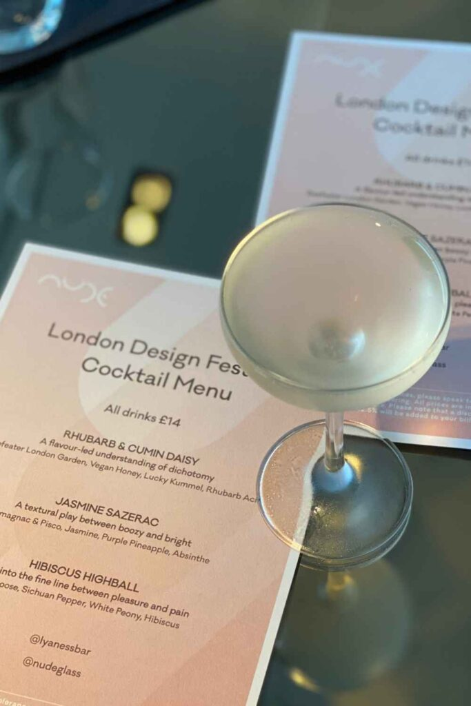Lyaness Design festival Cocktail menu